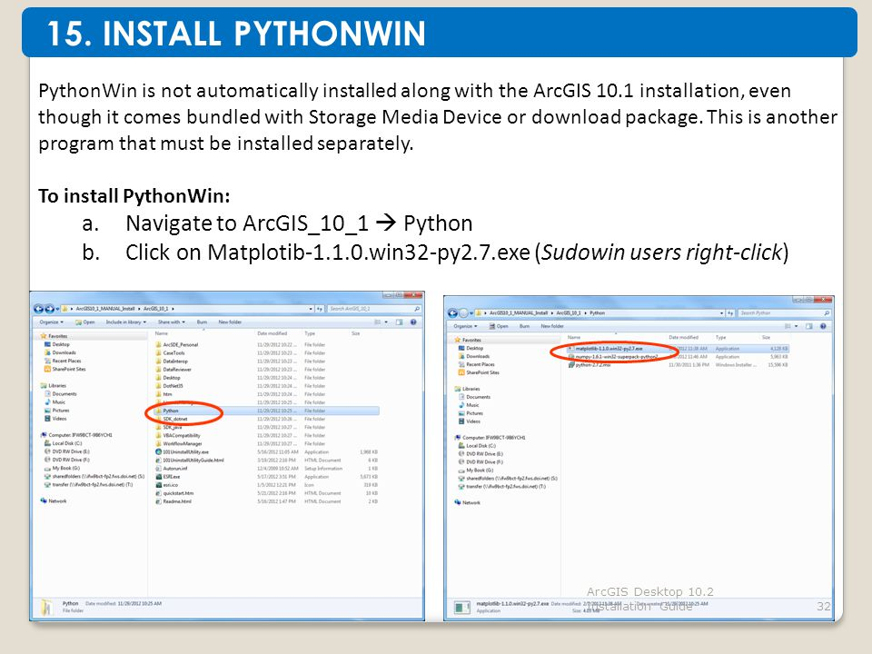 ArcGIS Desktop 10.2 Installation Guide32 PythonWin is not automatically installed along with the ArcGIS 10.1 installation, even though it comes bundled with Storage Media Device or download package.