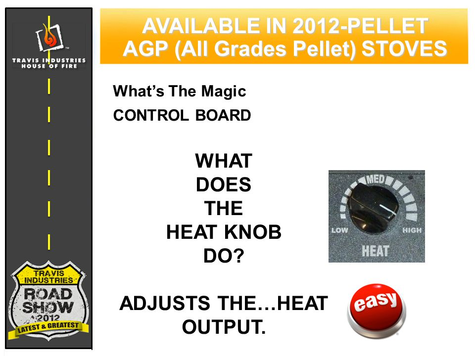 79 CYPRESS WOOD STOVE FEATURING HYBRID-FYRE™ TECHNOLOGY AVAILABLE IN 2012-PELLET AGP (All Grades Pellet) STOVES What's The Magic CONTROL BOARD WHAT DOES THE HEAT KNOB DO.