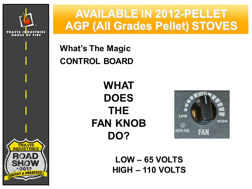 79 CYPRESS WOOD STOVE FEATURING HYBRID-FYRE™ TECHNOLOGY AVAILABLE IN 2012-PELLET AGP (All Grades Pellet) STOVES What's The Magic CONTROL BOARD WHAT DOES THE FAN KNOB DO.