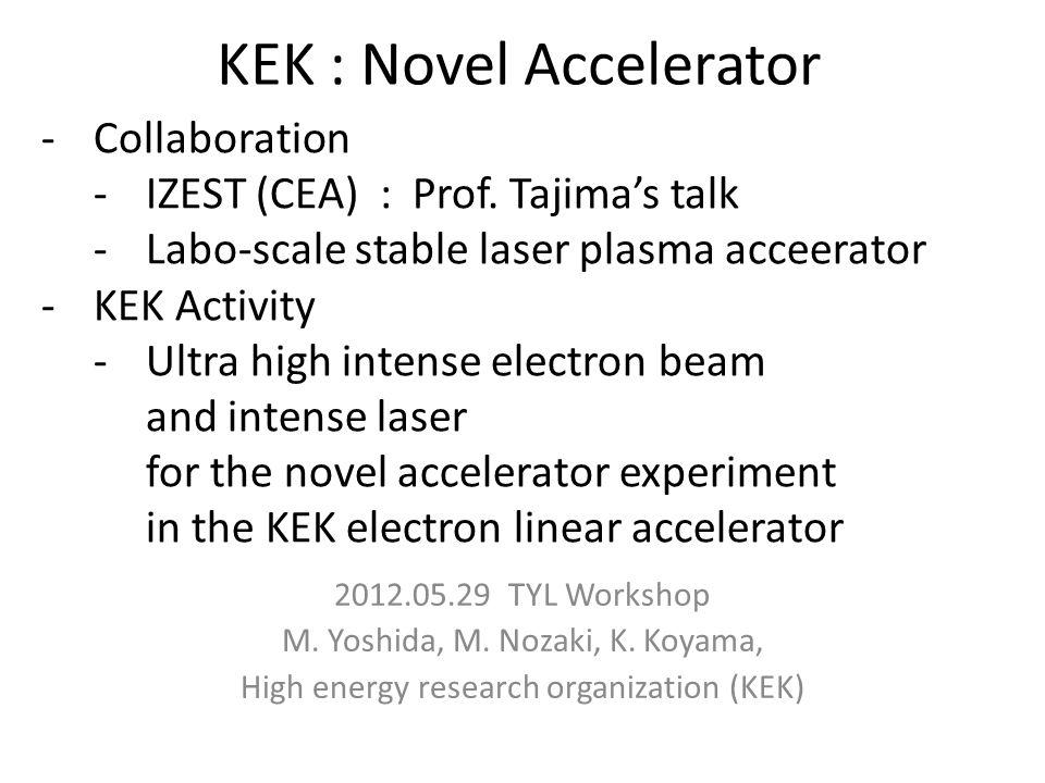 Considerable novel accelerator Drive beam Dielectric accelerator(DWA) Plasma wakefield (PWFA) Acceleration beam Electron beam Deacceleration Acceleration Beam driven accelerator Laser driven accelerator Laser plasma wakefield(LWFA) Laser direct field acceleration