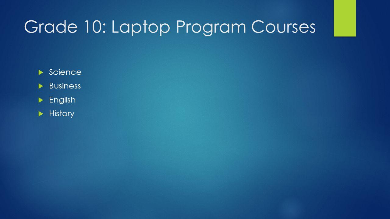 Grade 10: Laptop Program Courses  Science  Business  English  History