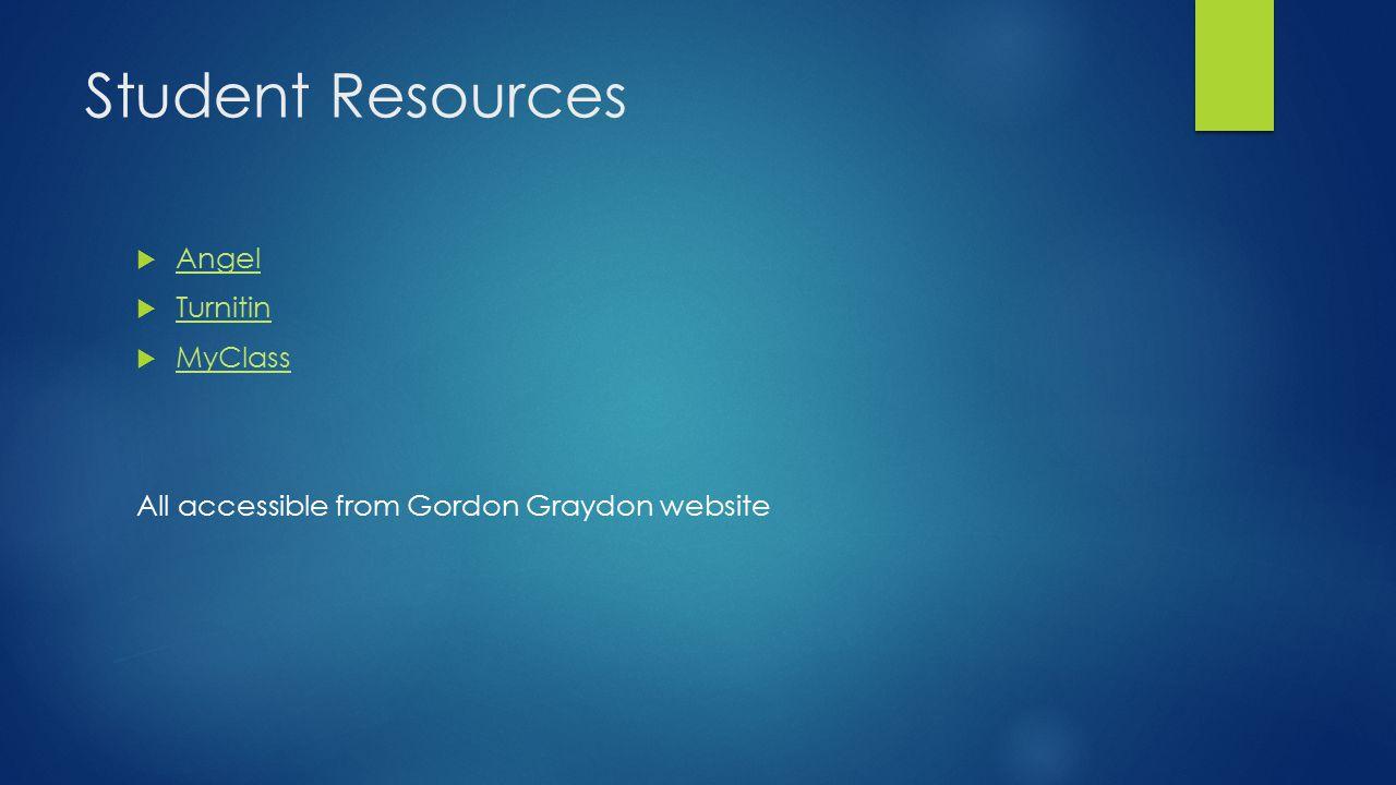 Student Resources  Angel Angel  Turnitin Turnitin  MyClass MyClass All accessible from Gordon Graydon website