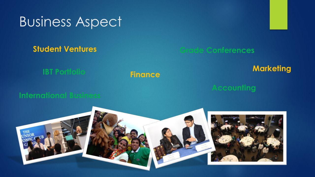 Business Aspect Student Ventures Grade Conferences IBT Portfolio Marketing Finance Accounting International Business