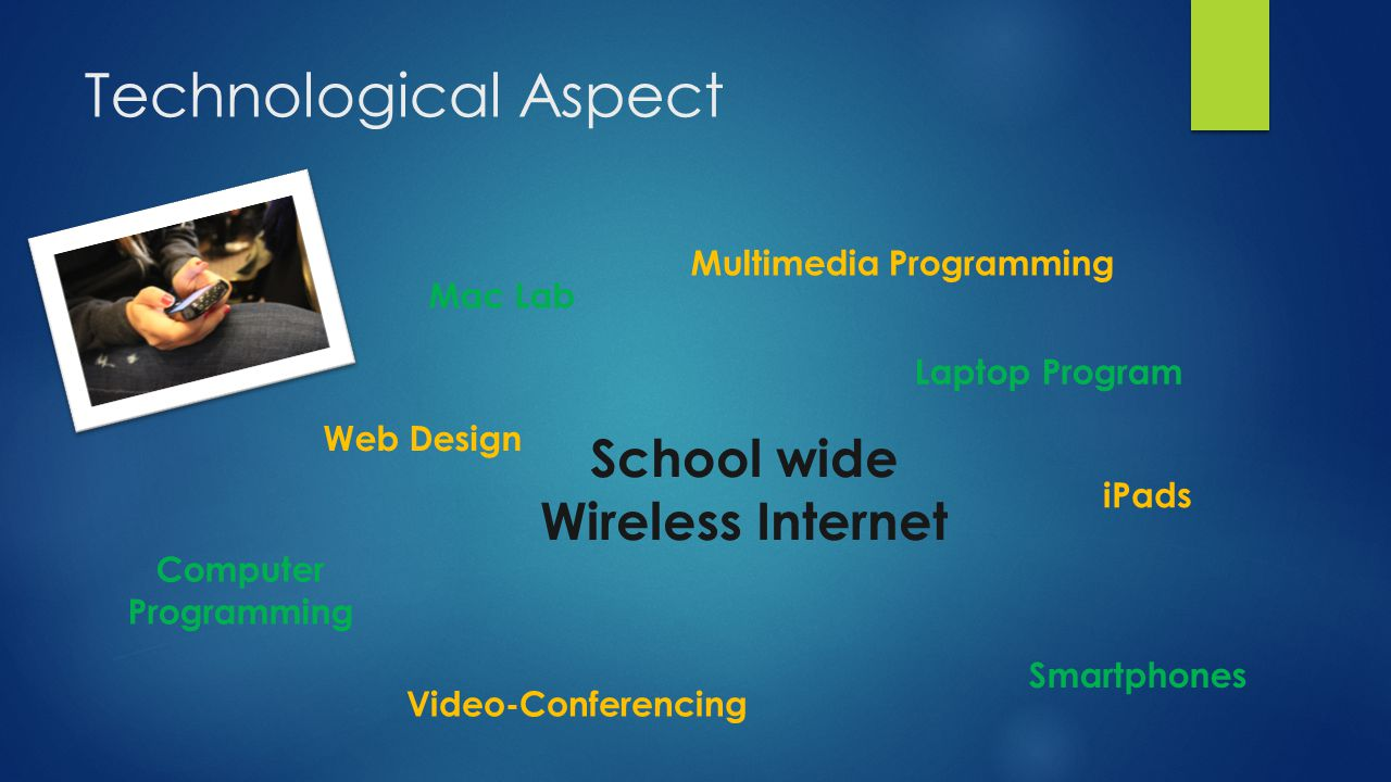 Technological Aspect School wide Wireless Internet Computer Programming Web Design Laptop Program Smartphones Video-Conferencing iPads Multimedia Programming Mac Lab