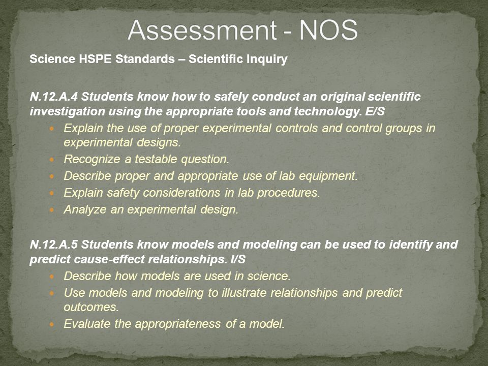 Science HSPE Standards – Scientific Inquiry N.12.A.4 Students know how to safely conduct an original scientific investigation using the appropriate tools and technology.