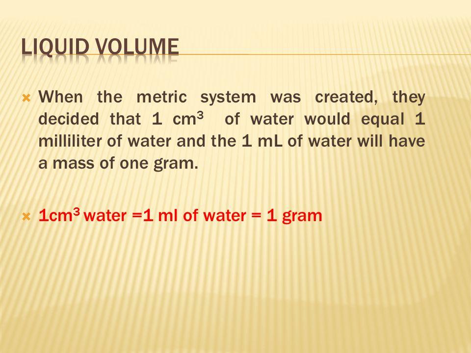  Volume - length x width x height  V = 2.8 cm x 3.2 cm x 2.5 cm  V = 22.4 cm3  Measured with a ruler