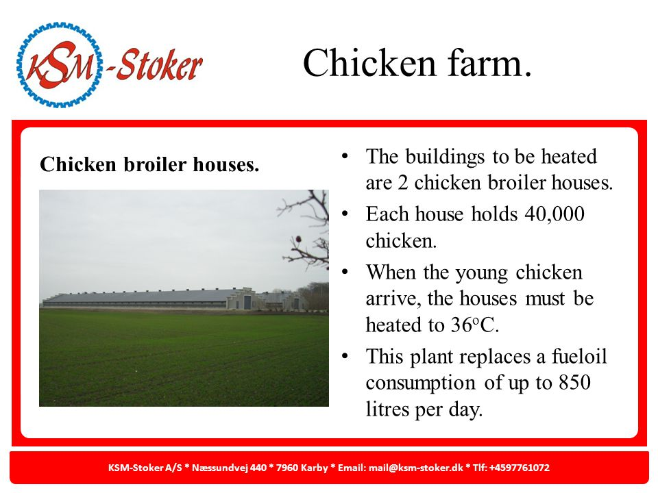 Chicken farm. Chicken broiler houses. The buildings to be heated are 2 chicken broiler houses. Each house holds 40,000 chicken. When the young chicken