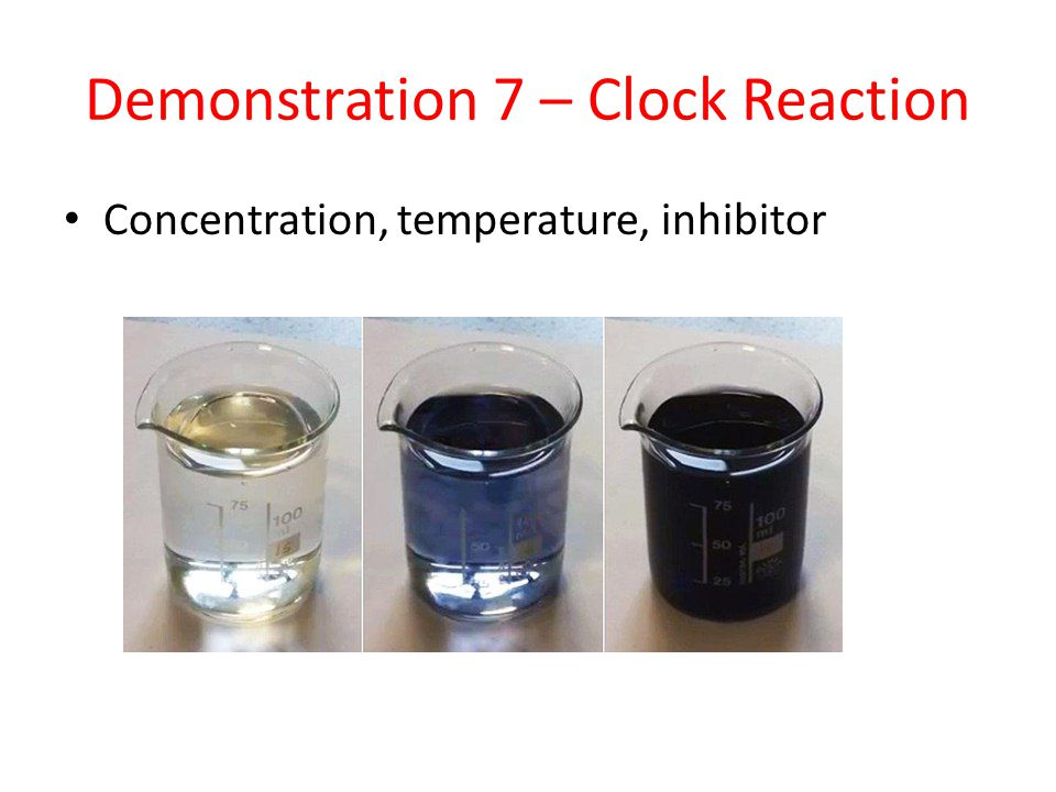 Demonstration 7 – Clock Reaction Concentration, temperature, inhibitor