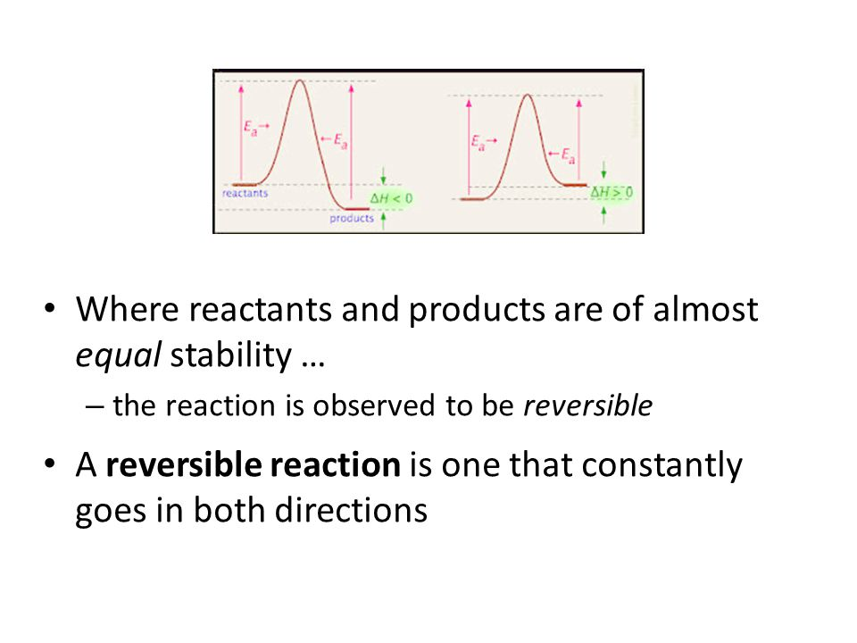 Where reactants and products are of almost equal stability … – the reaction is observed to be reversible A reversible reaction is one that constantly