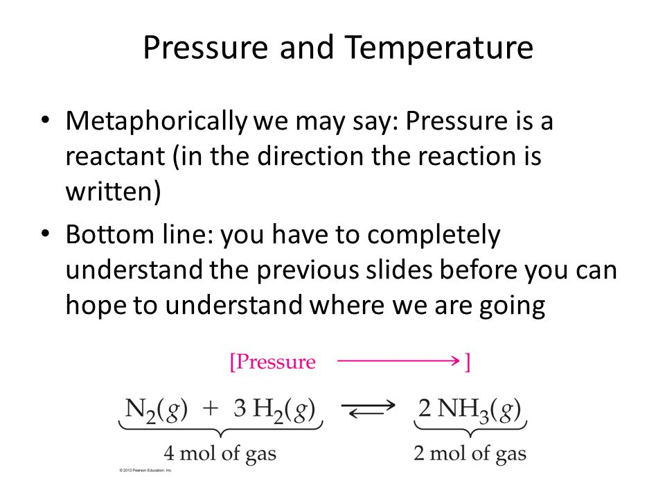 Metaphorically we may say: Pressure is a reactant (in the direction the reaction is written) Bottom line: you have to completely understand the previo