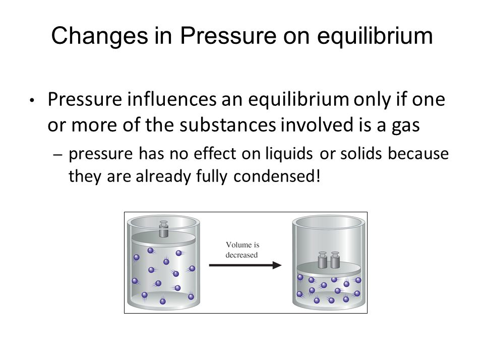Pressure influences an equilibrium only if one or more of the substances involved is a gas – pressure has no effect on liquids or solids because they