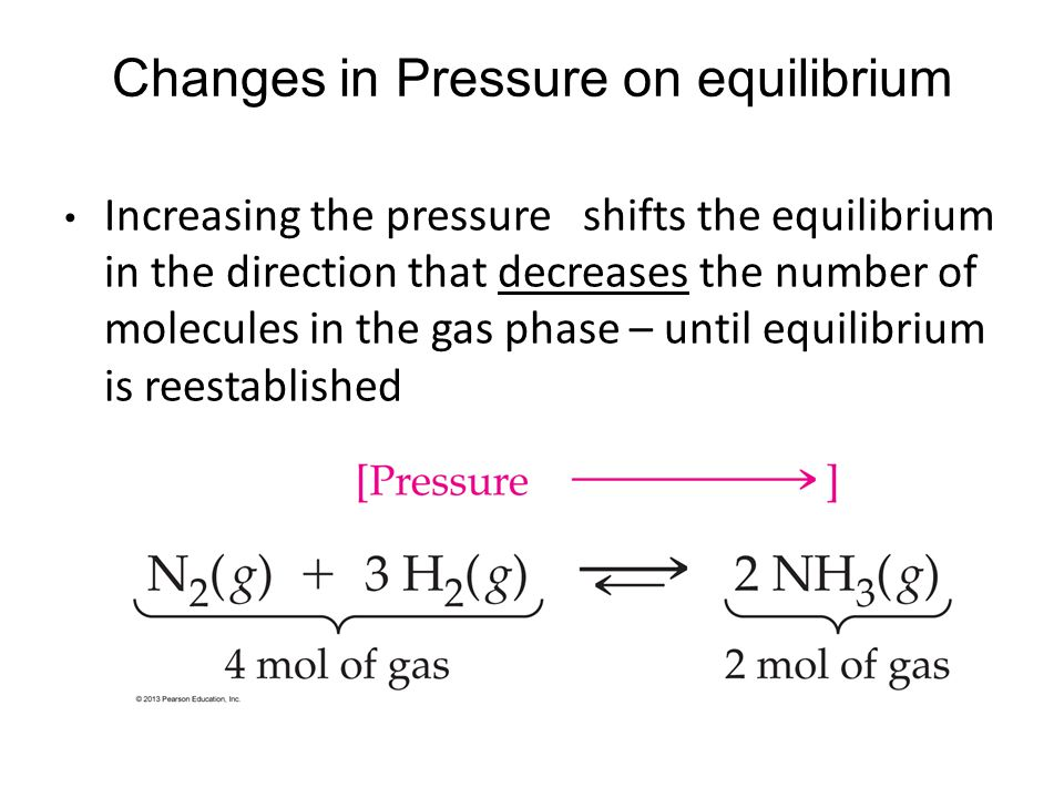 Increasing the pressure shifts the equilibrium in the direction that decreases the number of molecules in the gas phase – until equilibrium is reestab