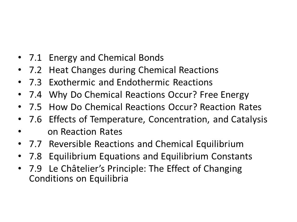 Summary Equilibria are affected by changes in: – Temperature (changes K) – Concentration (no effect on K) – Pressure (no effect on K) But equilibria are not affected at all by: – Presence of a catalyst – A catalyst simply reduce the time it takes to reach equilibrium – because it speeds up both the forward and reverse reactions equally