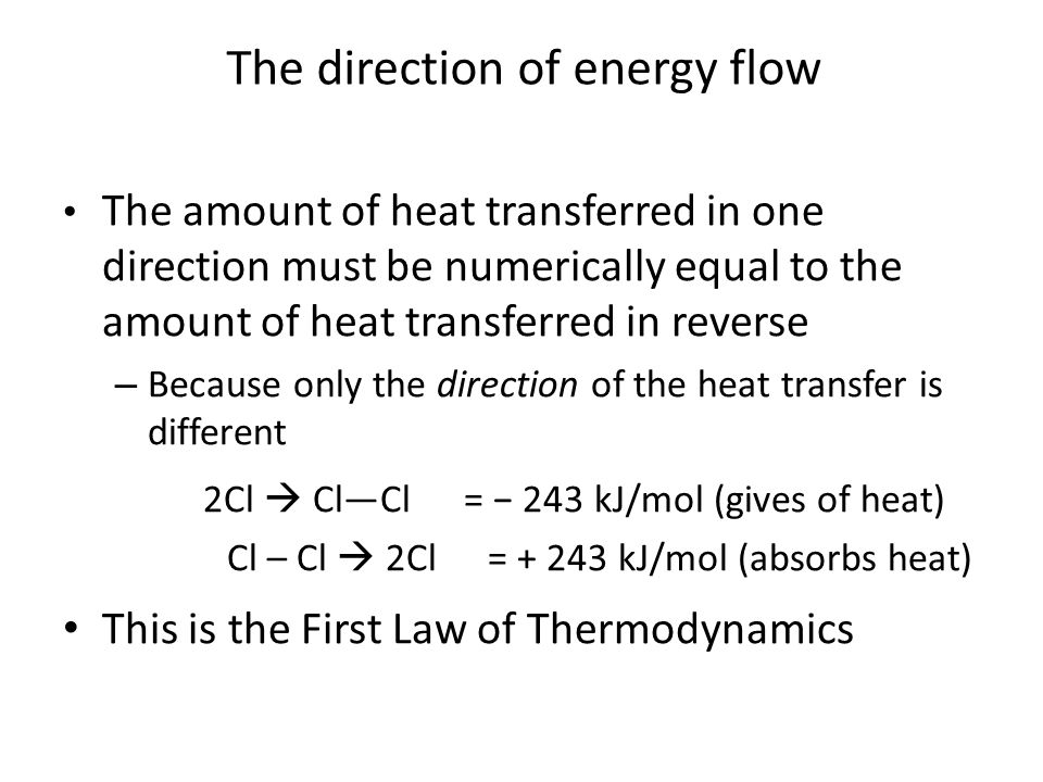 The amount of heat transferred in one direction must be numerically equal to the amount of heat transferred in reverse – Because only the direction of