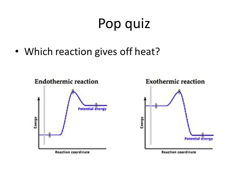 Pop quiz Which reaction gives off heat?