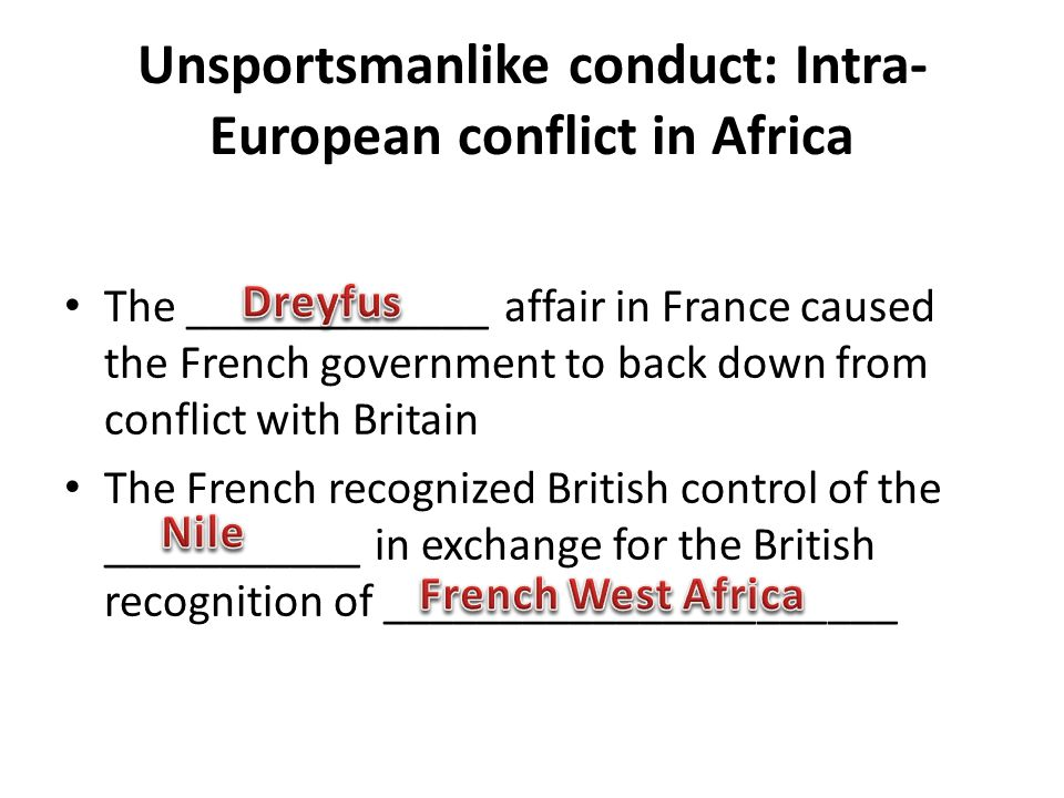 Unsportsmanlike conduct: Intra- European conflict in Africa The _____________ affair in France caused the French government to back down from conflict with Britain The French recognized British control of the ___________ in exchange for the British recognition of ______________________