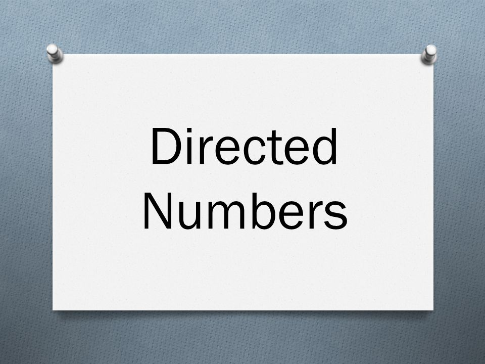 Directed Numbers