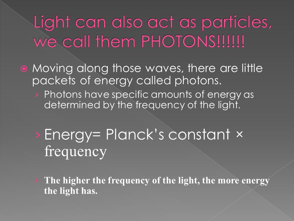  Moving along those waves, there are little packets of energy called photons.
