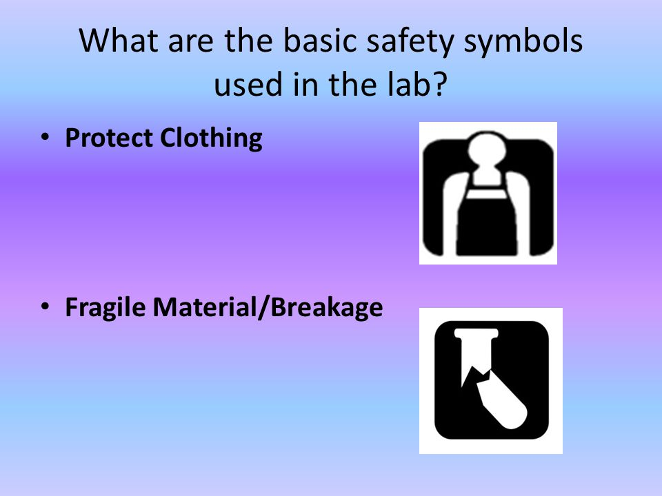 What are the basic safety symbols used in the lab? Protect Clothing Fragile Material/Breakage