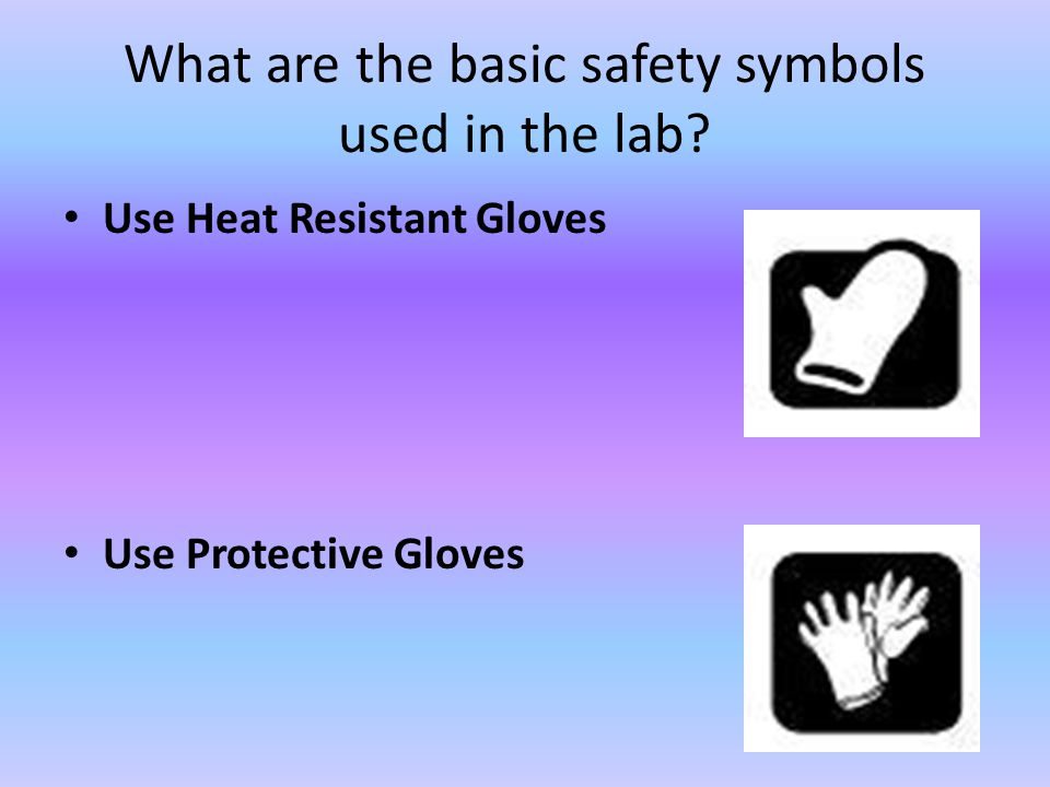 What are the basic safety symbols used in the lab? Use Heat Resistant Gloves Use Protective Gloves