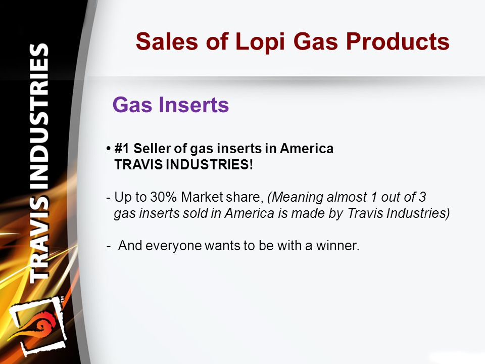 Sales of Lopi Gas Products Gas Inserts #1 Seller of gas inserts in America TRAVIS INDUSTRIES.