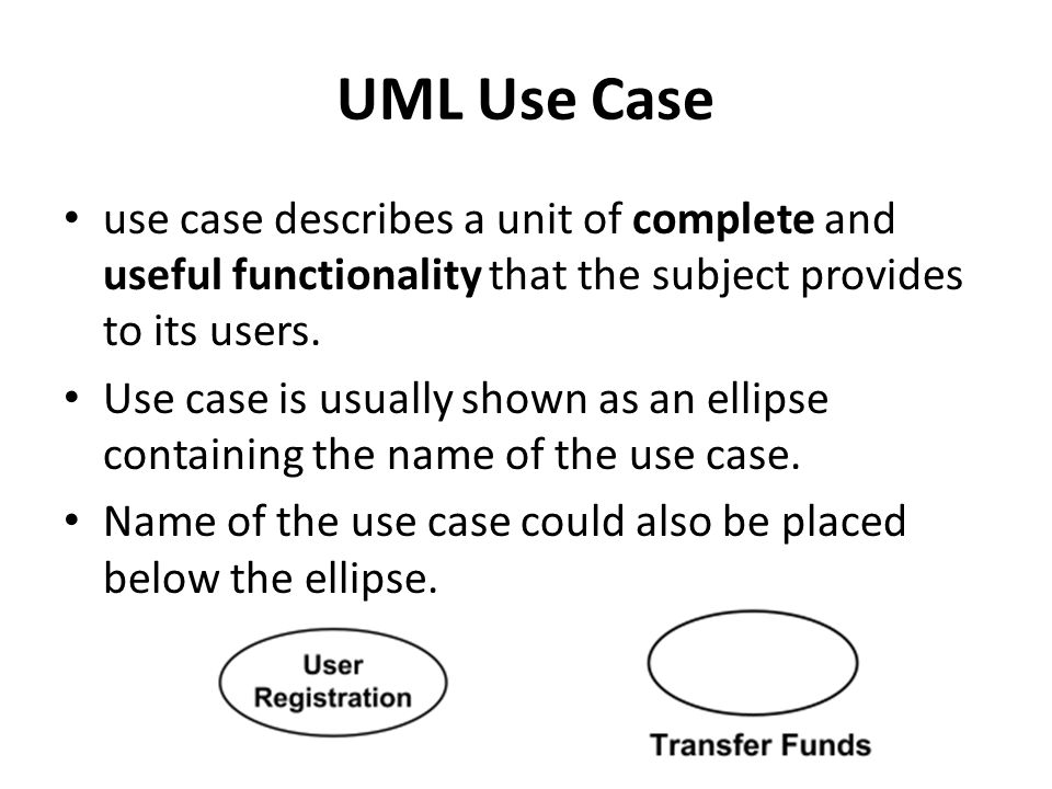 UML Use Case use case describes a unit of complete and useful functionality that the subject provides to its users. Use case is usually shown as an el