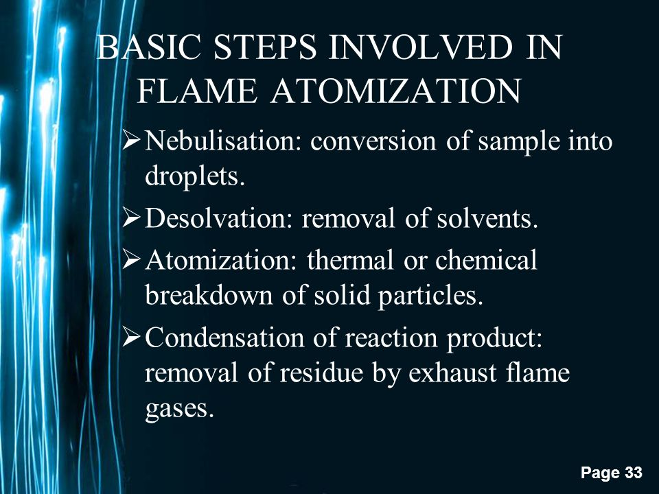 Page 32 ATOMIZERS The principle of atomic absorption requires light absorption by free atoms. However, elements in the sample are in a molecular form.