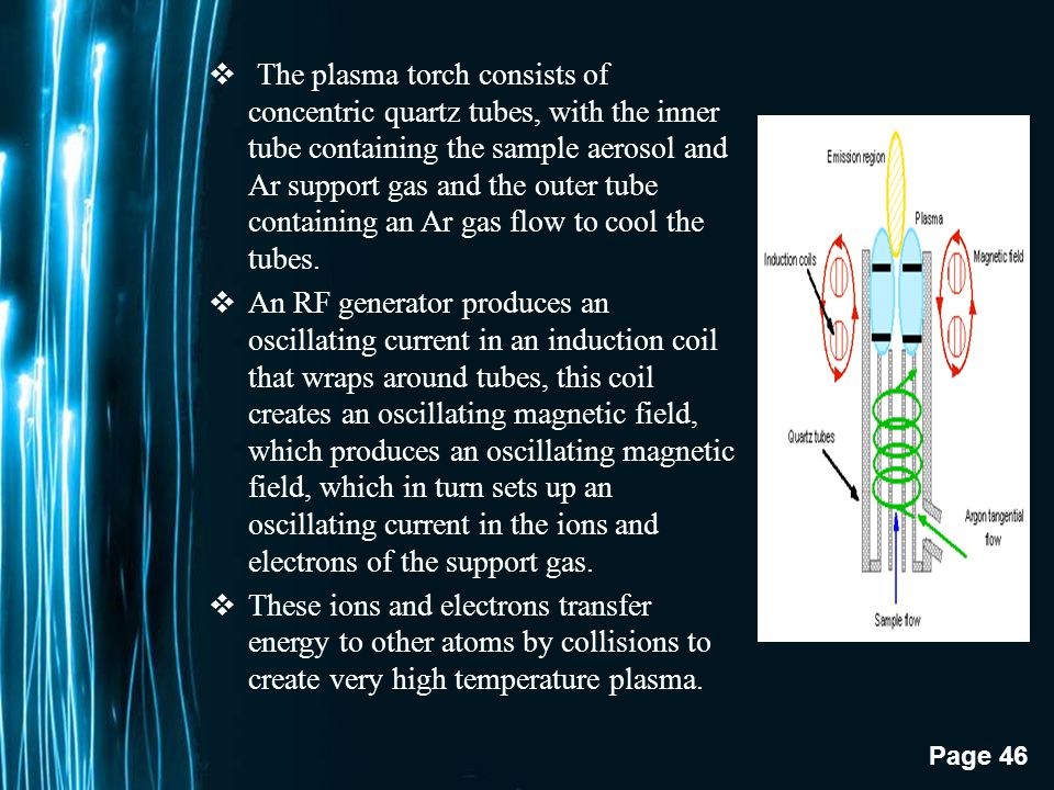 Page 45 3.Inductively-Coupled Plasma Excitation Source  Very high temperature excitation source that efficiently desolvates, vaporizes, excites, and