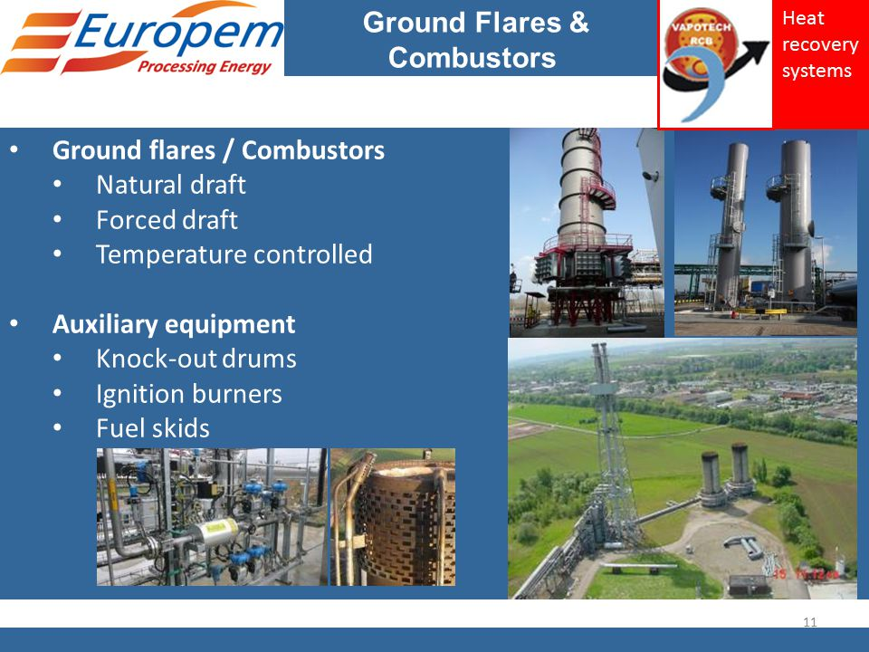 Ground Flares & Combustors Ground flares / Combustors Natural draft Forced draft Temperature controlled Auxiliary equipment Knock-out drums Ignition b