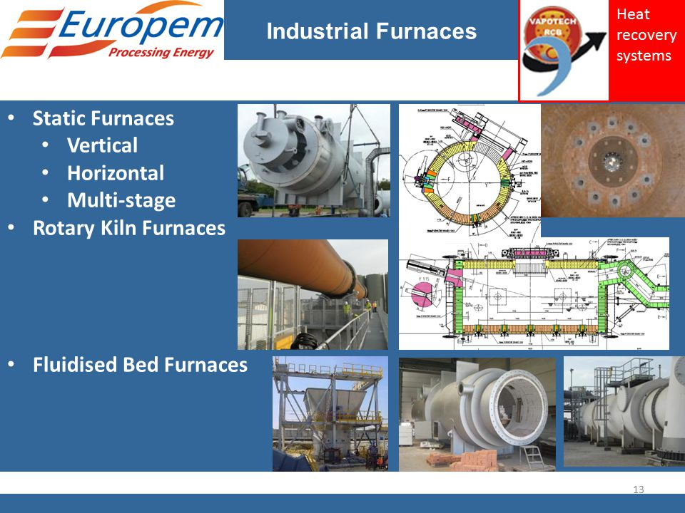 Industrial Furnaces Static Furnaces Vertical Horizontal Multi-stage Rotary Kiln Furnaces Fluidised Bed Furnaces 13 Heat recovery systems
