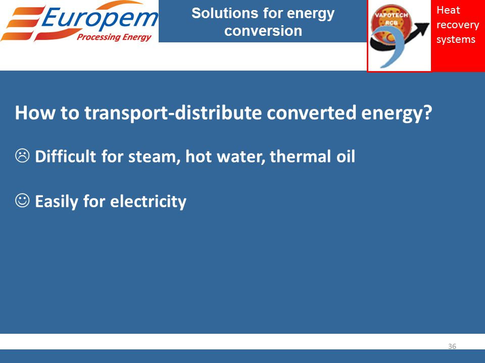 Solutions for energy conversion How to transport-distribute converted energy?  Difficult for steam, hot water, thermal oil Easily for electricity 36