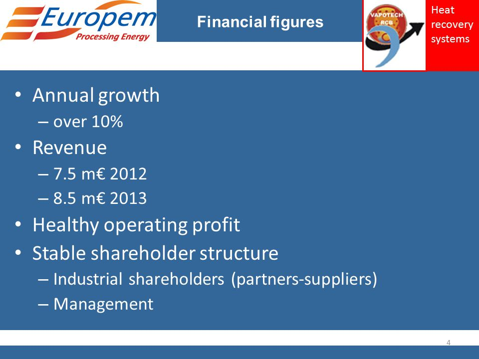 Financial figures Annual growth – over 10% Revenue – 7.5 m€ 2012 – 8.5 m€ 2013 Healthy operating profit Stable shareholder structure – Industrial shareholders (partners-suppliers) – Management 4 Heat recovery systems