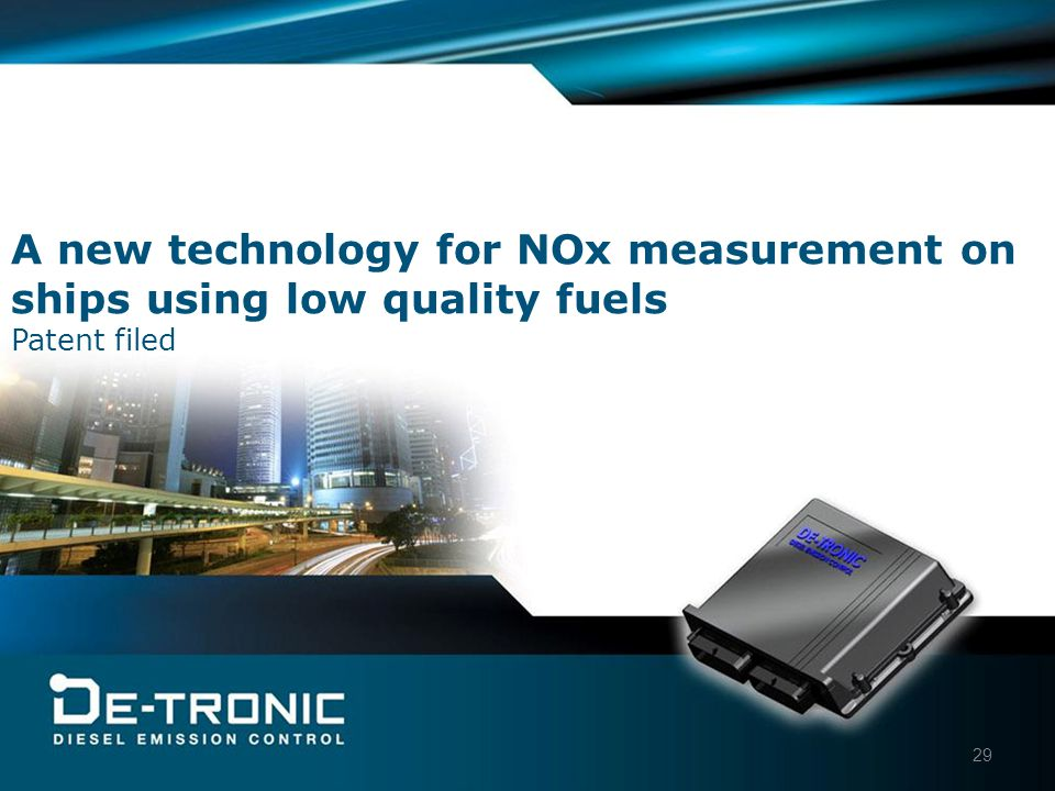 29 A new technology for NOx measurement on ships using low quality fuels Patent filed