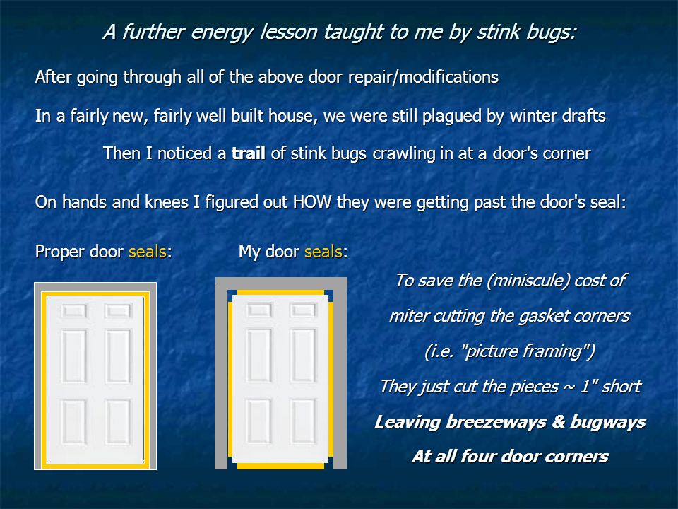 A further energy lesson taught to me by stink bugs: To save the (miniscule) cost of miter cutting the gasket corners (i.e.