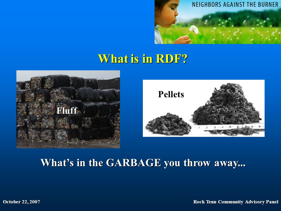 October 22, 2007Rock Tenn Community Advisory Panel What is in RDF? What's in the GARBAGE you throw away... Fluff Pellets