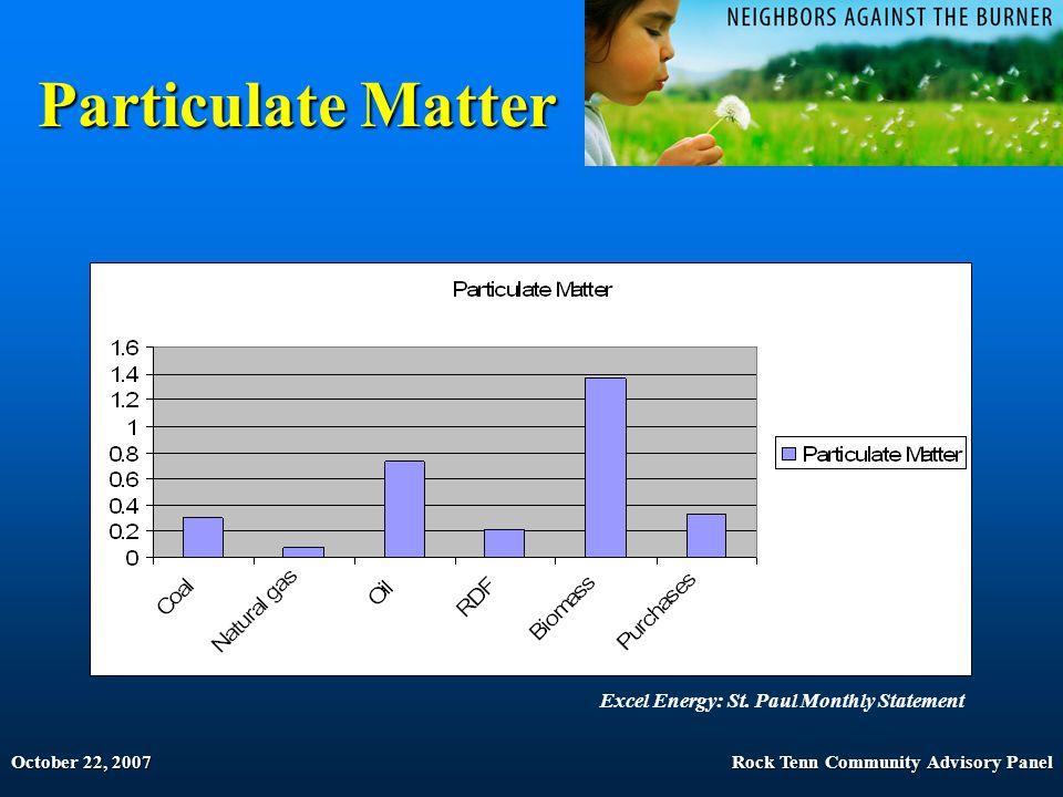 October 22, 2007Rock Tenn Community Advisory Panel Particulate Matter Excel Energy: St.