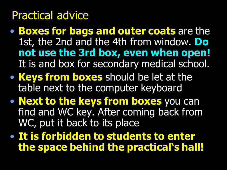 Practical advice Boxes for bags and outer coats are the 1st, the 2nd and the 4th from window. Do not use the 3rd box, even when open! It is and box fo