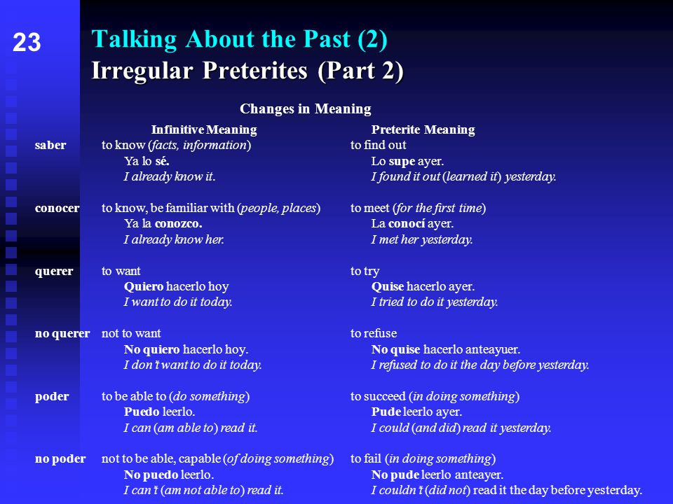 Irregular Preterites (Part 2) Talking About the Past (2) Irregular Preterites (Part 2) 2323 Changes in Meaning Infinitive MeaningPreterite Meaning saberto know (facts, information)to find out Ya lo sé.Lo supe ayer.