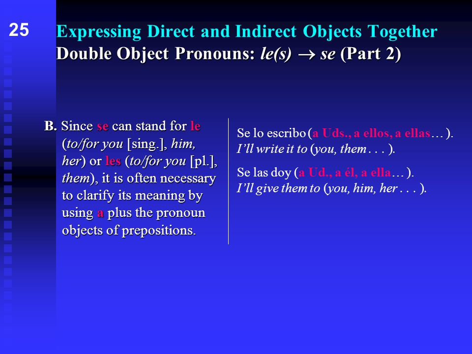 Double Object Pronouns: le(s)  se (Part 2) Expressing Direct and Indirect Objects Together Double Object Pronouns: le(s)  se (Part 2) B.