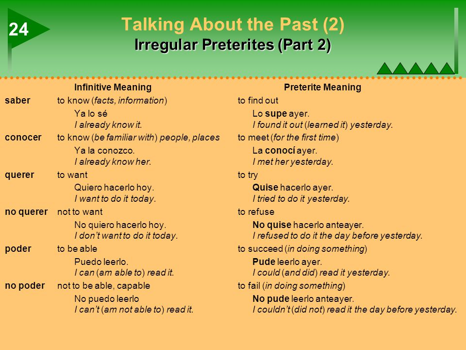 Irregular Preterites (Part 2) Talking About the Past (2) Irregular Preterites (Part 2) Infinitive MeaningPreterite Meaning saberto know (facts, inform