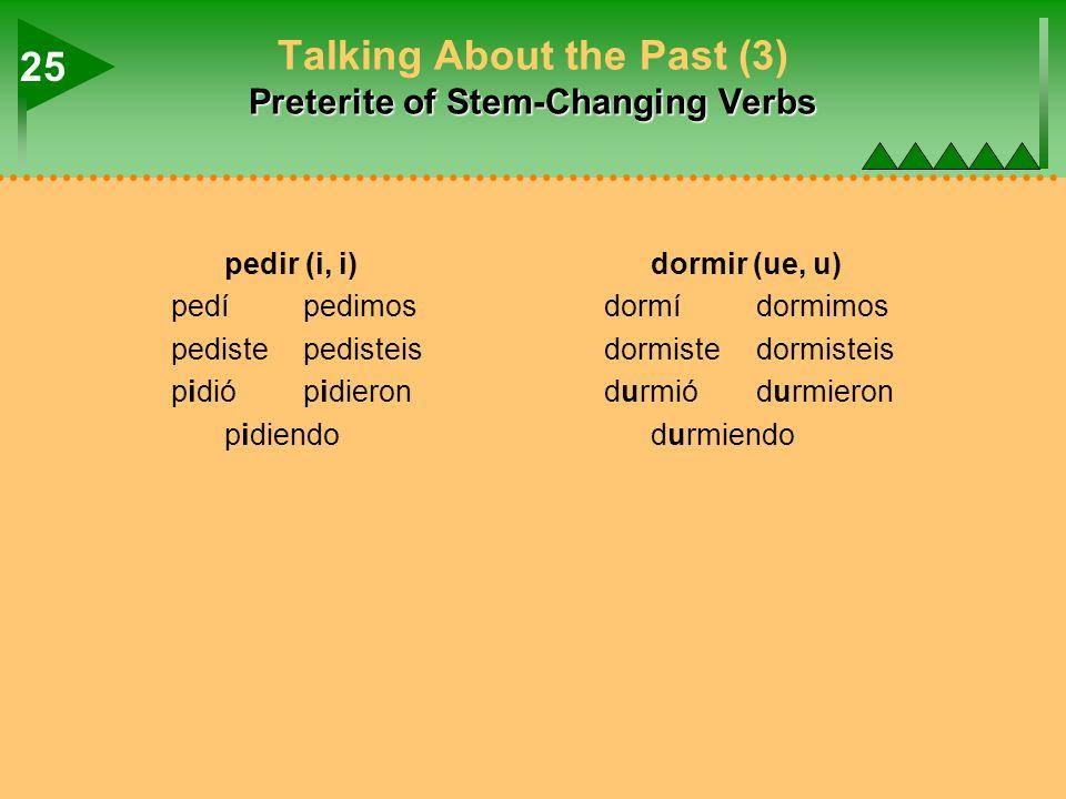Preterite of Stem-Changing Verbs Talking About the Past (3) Preterite of Stem-Changing Verbs pedir (i, i)dormir (ue, u) pedípedimosdormídormimos pedistepedisteisdormistedormisteis pidiópidierondurmiódurmieron pidiendodurmiendo 25