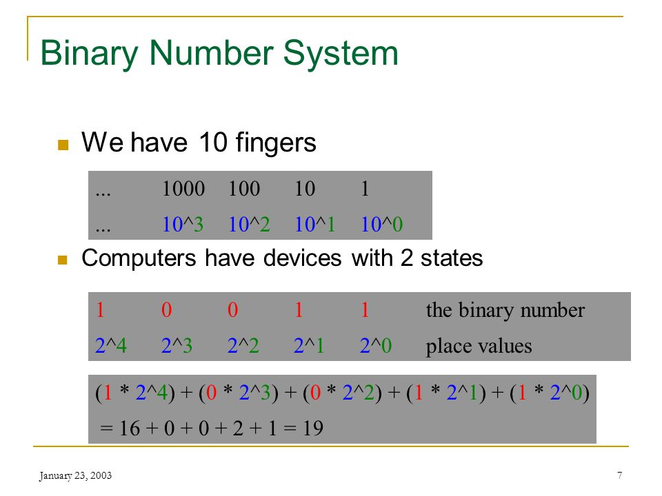 January 23, 20037 Binary Number System We have 10 fingers Computers have devices with 2 states...1000100101...10^310^210^110^0 10011the binary number 2^42^32^22^12^0place values (1 * 2^4) + (0 * 2^3) + (0 * 2^2) + (1 * 2^1) + (1 * 2^0) = 16 + 0 + 0 + 2 + 1 = 19