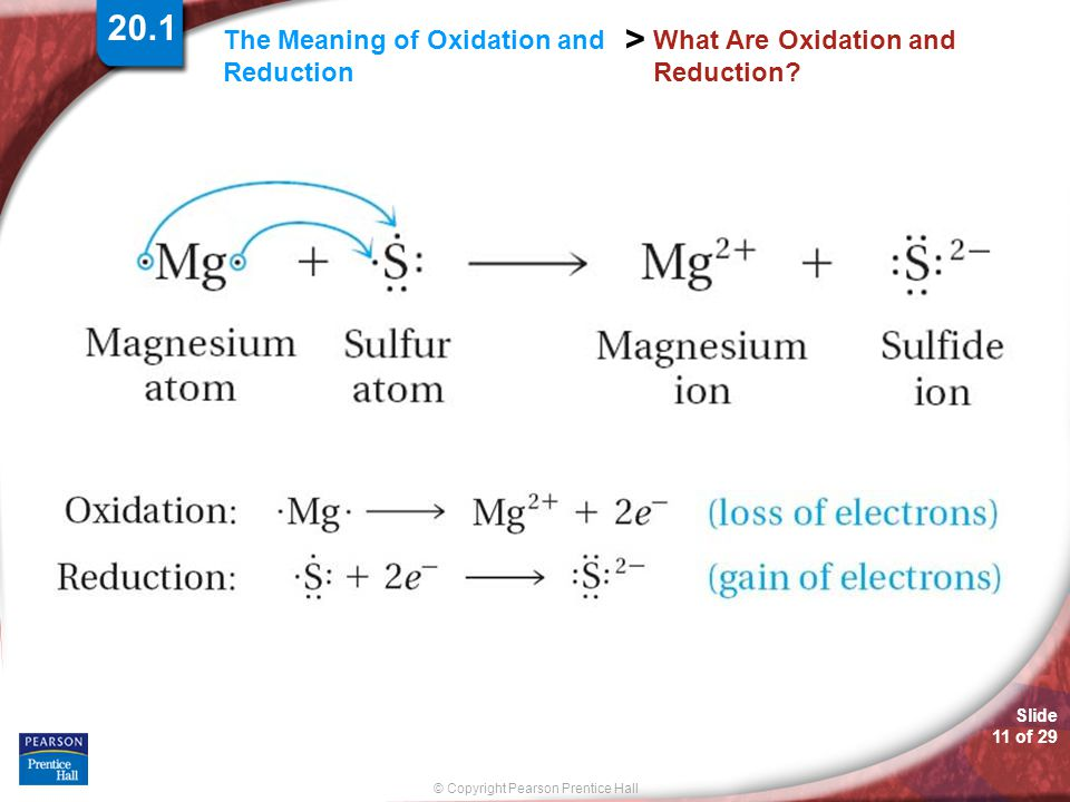 Slide 11 of 29 © Copyright Pearson Prentice Hall The Meaning of Oxidation and Reduction > What Are Oxidation and Reduction? 20.1