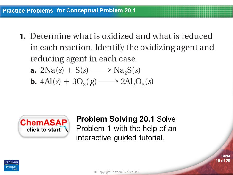 © Copyright Pearson Prentice Hall Slide 16 of 29 Practice Problems for Conceptual Problem 20.1 Problem Solving 20.1 Solve Problem 1 with the help of a