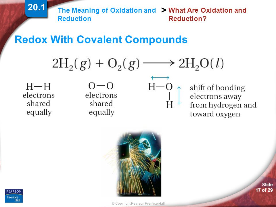Slide 17 of 29 © Copyright Pearson Prentice Hall The Meaning of Oxidation and Reduction > What Are Oxidation and Reduction? Redox With Covalent Compou