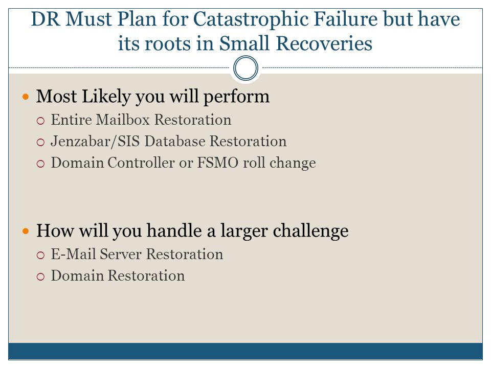DR Must Plan for Catastrophic Failure but have its roots in Small Recoveries Most Likely you will perform  Entire Mailbox Restoration  Jenzabar/SIS Database Restoration  Domain Controller or FSMO roll change How will you handle a larger challenge  E-Mail Server Restoration  Domain Restoration