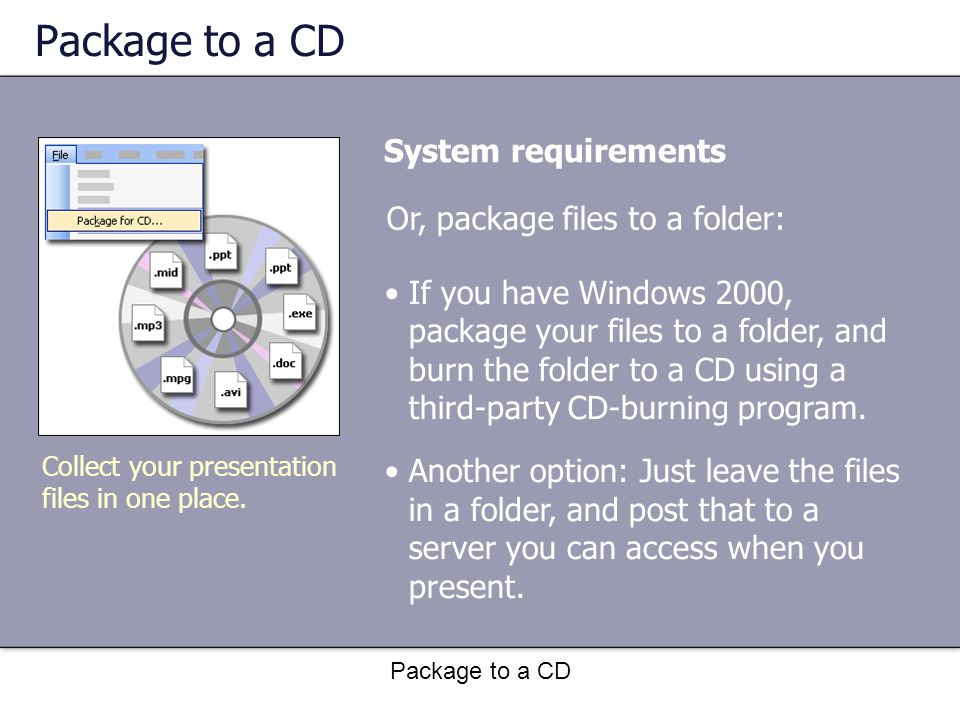 Package to a CD System requirements Collect your presentation files in one place.