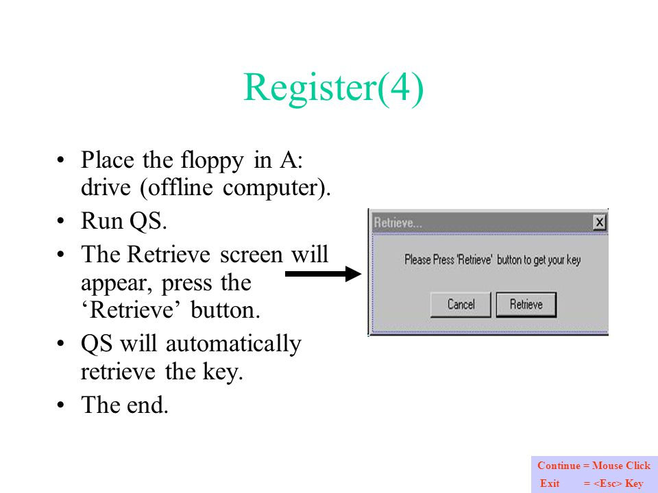 Register(4) Place the floppy in A: drive (offline computer).