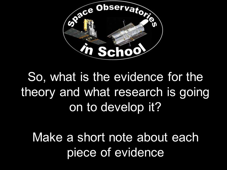 So, what is the evidence for the theory and what research is going on to develop it.