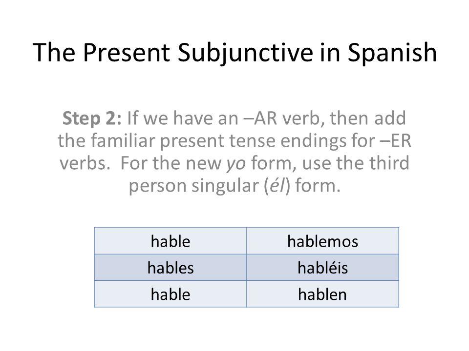 The Present Subjunctive in Spanish Step 2: If we have an –AR verb, then add the familiar present tense endings for –ER verbs.